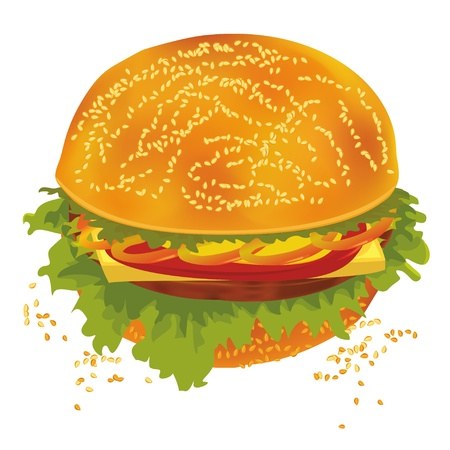 Vector illustration of a tasty hamburger isolated over white
