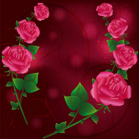 Beautiful pink roses with decorative curls for life events Vector
