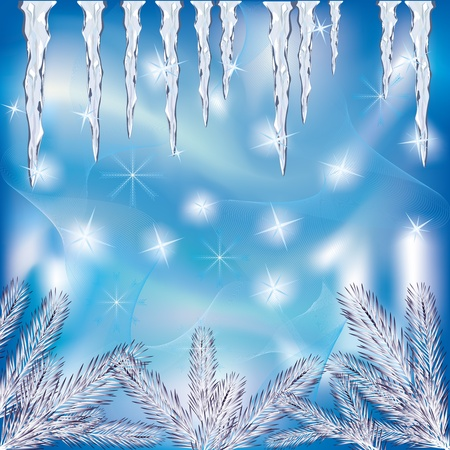 christmas illuminations: Beautiful  winter  frosty background with icicles, fir-tree and snowflakes, place for text. Vector illustration. Illustration