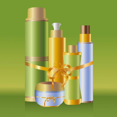 cosmetology: Set of skin care cosmetics on green background