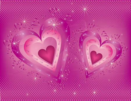 Bright Valentines Day background with two hearts Vector