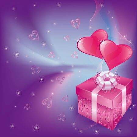 Love card with hearts and gift box Vector