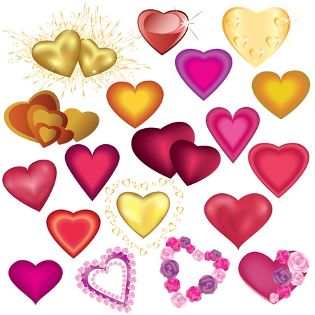 golden heart: Set of colorful heart for Valentines Day, wedding, birthday Illustration