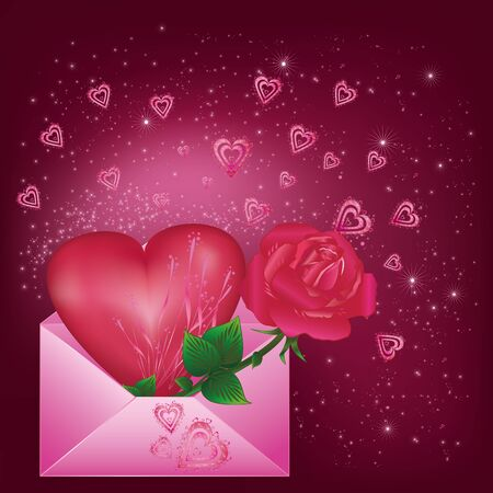 Greeting card with heart and rose in envelope Vector