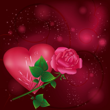 Beautiful bright Valentines  Day  greeting card with heart,  rose and decorative curls and stars. Vector