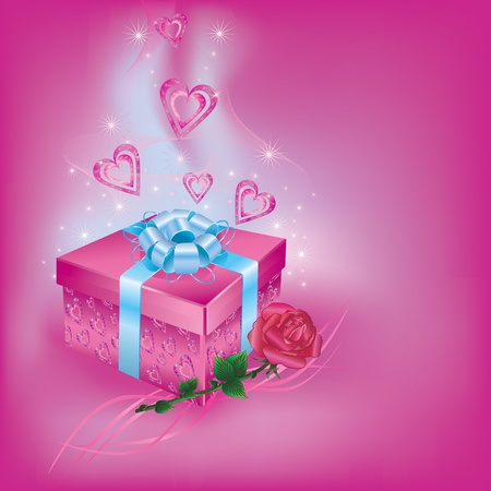 Gift box with rose for life events Vector