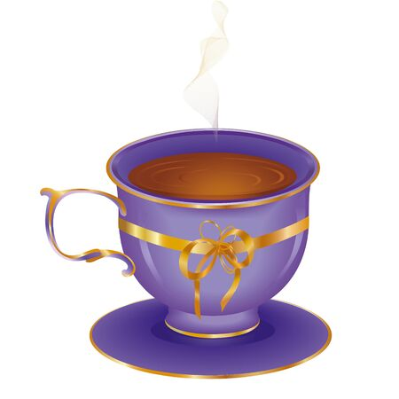 hot cup: Cup of hot tea on a saucer Illustration
