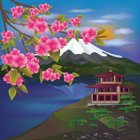 spring in japan: Beautiful Japanese landscape Illustration