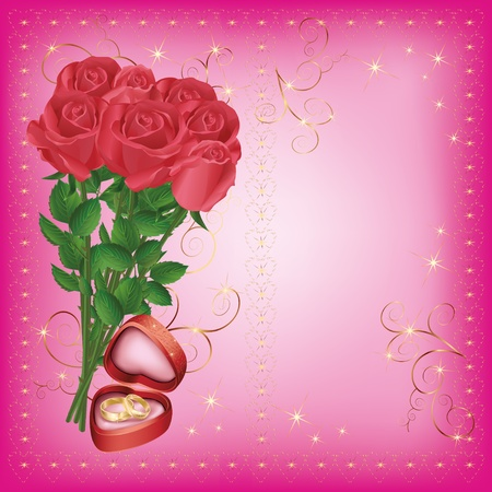 propose: Wedding greeting and invitation card with roses and wedding rings Illustration