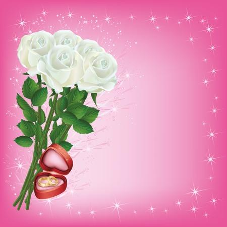20bab879668e  12215957 - Boda de felicitación o invitación tarjetas con ramo de rosas  blancas y los anillos de boda