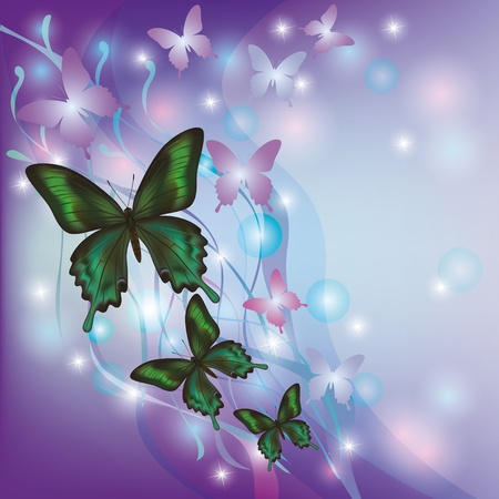 Light glowing abstract background with butterflies, decorated with colorful wave and bubble Vector