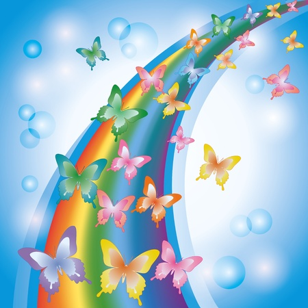rainbow circle: Light colorful background with rainbow and butterflies, decorated bubbles