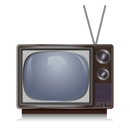 tv network: Realistic vintage TV isolated on white background, retro