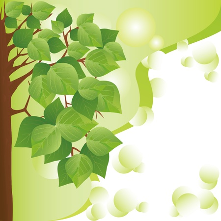Eco background with tree. Place for text Vector