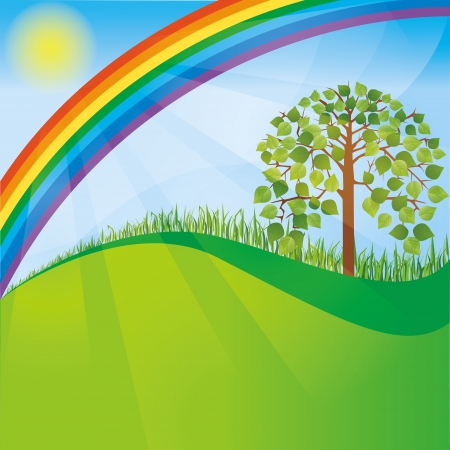 biologic: Summer or spring nature background with tree and rainbow Illustration