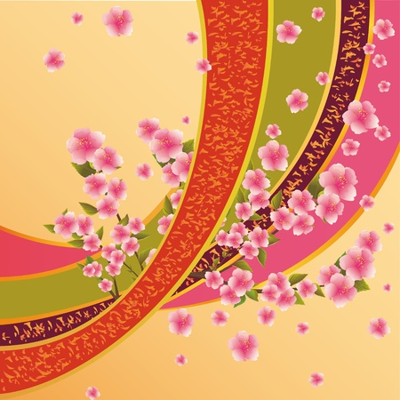 Colorful background with sakura blossom - Japanese cherry tree and ribbon with pattern Vector
