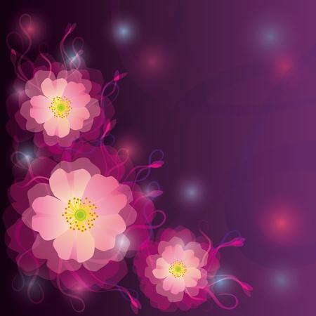 Saludo o violeta tarjeta de invitaci�n con flores y rizos Foto de archivo - 12215993