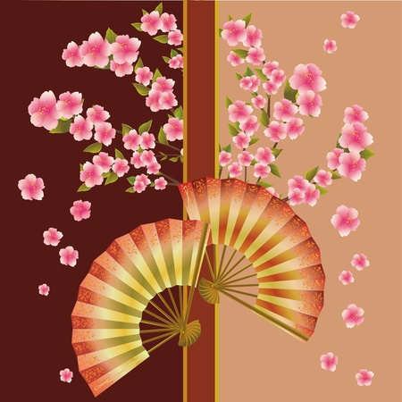 japanese fan: Background with fan and sakura blossom - Japanese cherry tree