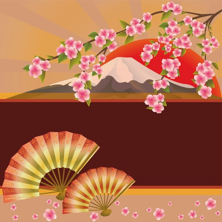 volcano mountain: Background with fan, mountain and sakura blossom - Japanese cherry tree. Place for text