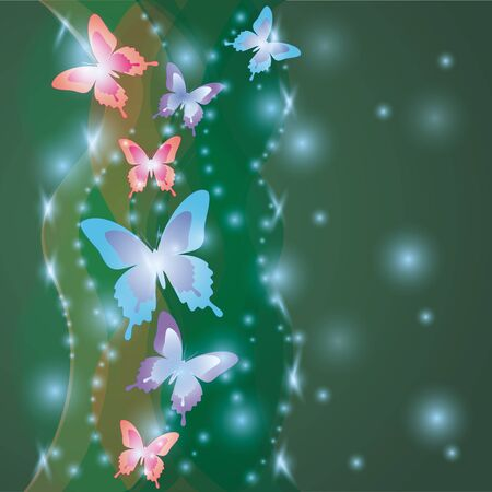 saturated: Shining saturated colorful background with butterflies, decorated waves and stars