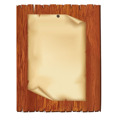 billboard blank: Sheet of old paper on wooden board, isolated on white background