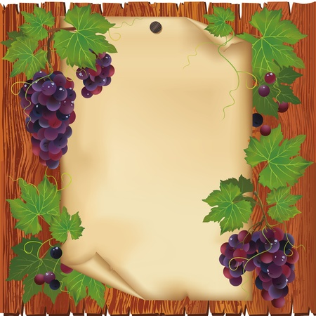 black grape: Background with black grape and old paper - place for text on wooden board Illustration