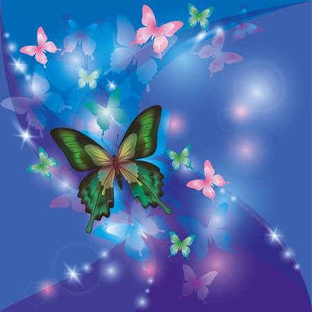 Bright glowing abstract background blue - violet with butterflies, decorated stars and waves Vector