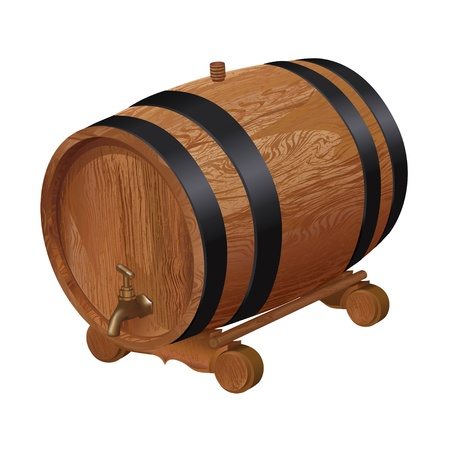 cellar: Realistic wooden barrel, isolated on white background