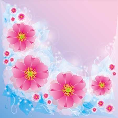Light background , greeting or invitation card with flowers and decorative elements Vector