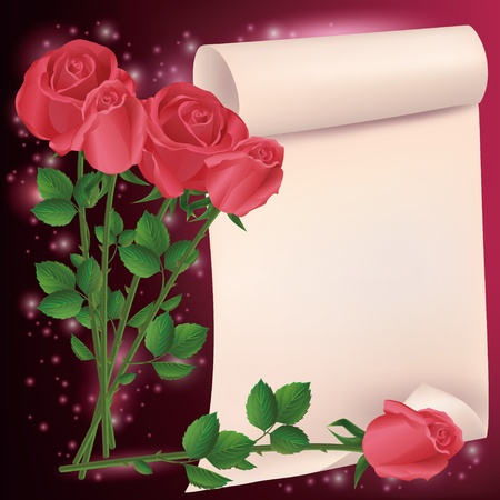 Greeting or invitation card with roses and paper- place for text Vector