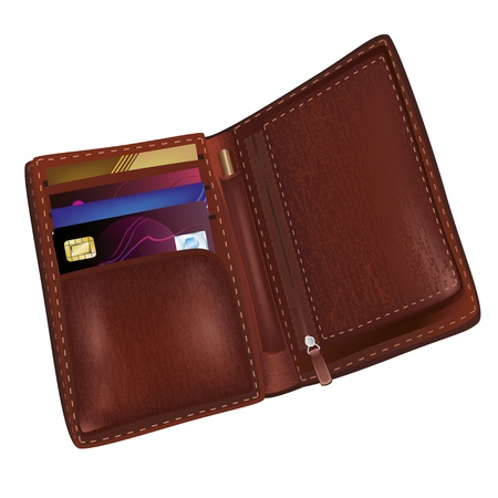 visa credit card: Realistic brown leather wallet with credit card and business cards isolated on white background Illustration