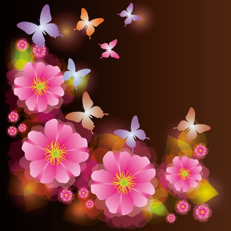 exotic butterflies: Abstract glowing background with exotic flower and butterfly