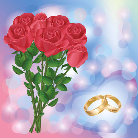Wedding greeting or invitation cards with bouquet of red roses and wedding rings Vector
