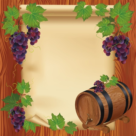 Background with realistic grape, barrel and old paper on wooden board Vector