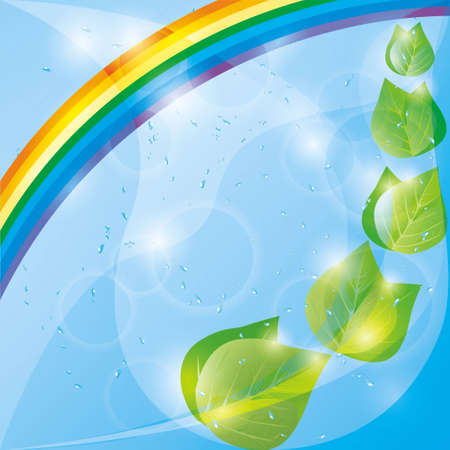 Spring eco background with fresh green leaves, rainbow and drops of water  Place for text  Stock Vector - 12482320