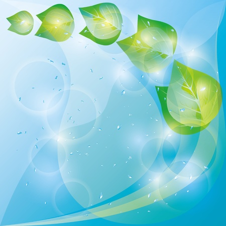 Spring eco background abstract with glowing fresh green leaves and water drops  Place for text Stock Vector - 12482359