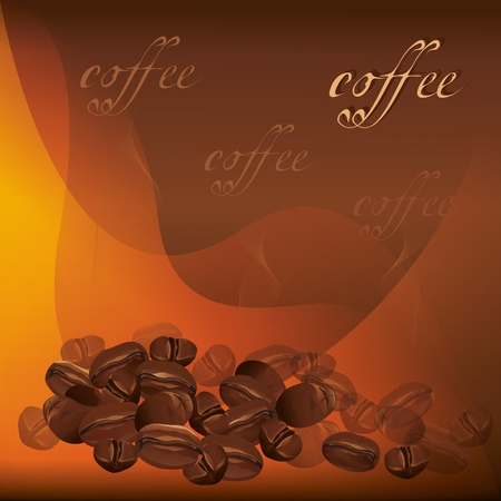 Coffee beans background with text, vector illustration Vector