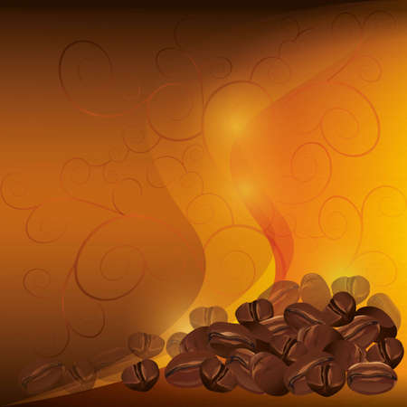Coffee background chocolate - golden with pattern, vector Vector