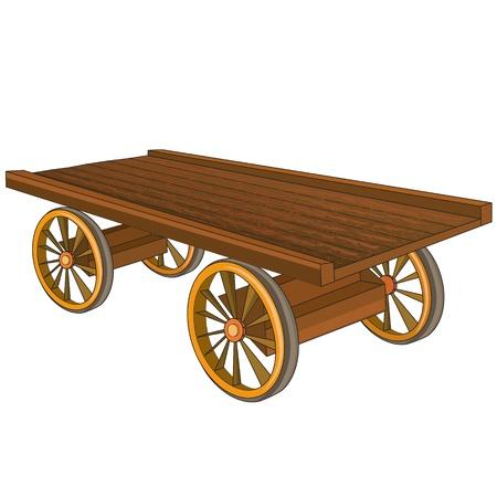carretilla: Carro de madera antiguo aislado en blanco ilustraci�n vectorial de fondo,