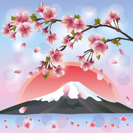 Japanese landscape with mountain and sakura blossom- Japanese cherry tree Illustration
