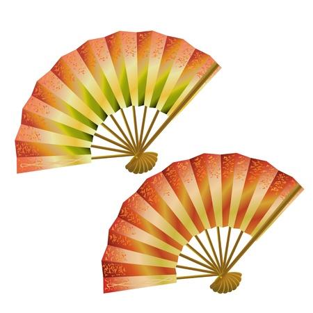 カラフルな日本のファンのベクトル図セット