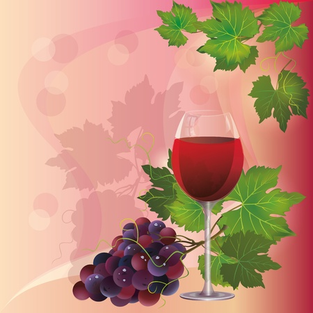 grapes on vine: Wine glass and black grape, vector background