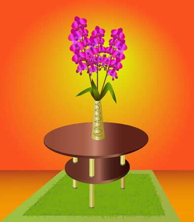Bouquet of orchids in a vase on the coffee table, interior of a room  Vector illustration Vector