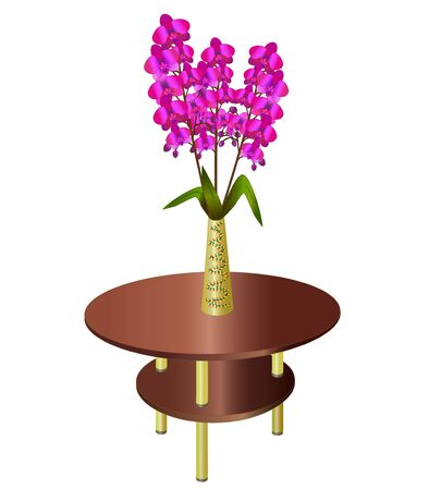 Bouquet of orchids in vase on coffee table, element of interior, isolated on white background  Vector illustration  Vector