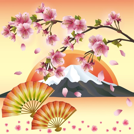 japanese garden: Japanese background with mountain, fans and sakura blossom- Japanese cherry tree