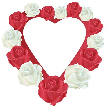 red rose border: Heart with white and red roses, isolated on white background, vector Illustration