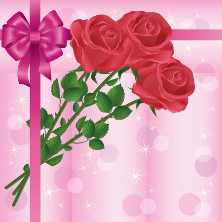 Greeting or invitation card with bouquet of red roses and bow, vector illustration Vector