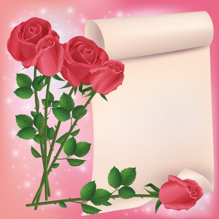 Greeting or invitation card with bouquet of red roses and sheet of paper- place for text. Vector illustration Vector