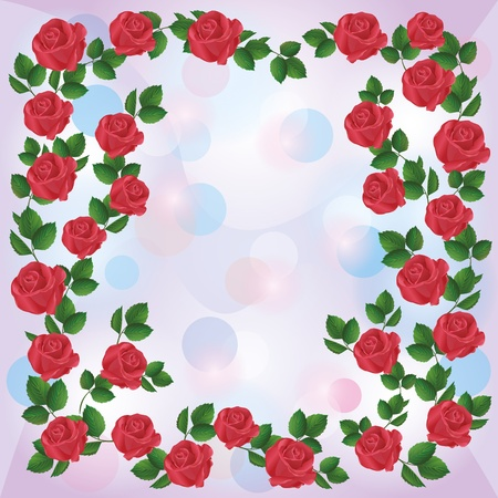 Greeting or invitation card with ornament of red roses, floral background. Vector illustration Vector