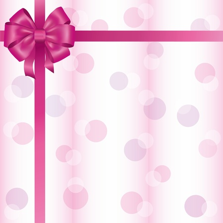 pink ribbon: Greeting or invitation card with ribbon and bow, light background. Vector illustration